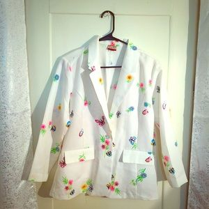 Gorgeous Butterfly Floral Fresh white Blazer